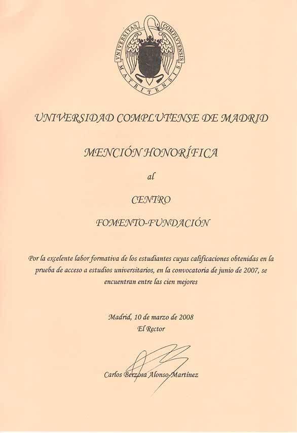 Mención Honorífica de la UCM al Centro de Bachillerato Fomento Fundación 2007