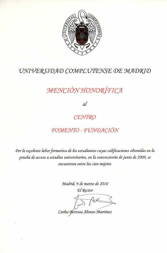 Mención Honorífica de la UCM al Centro de Bachillerato Fomento Fundación 2009