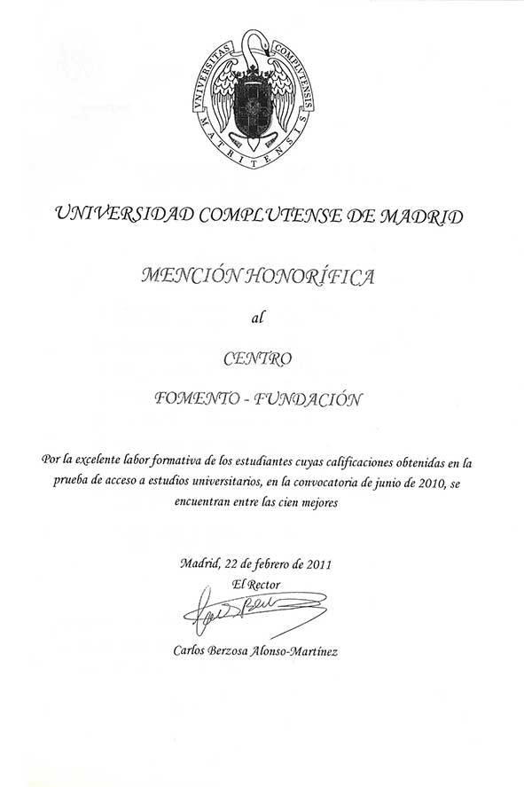 Mención Honorífica de la UCM al Centro de Bachillerato Fomento Fundación 2010
