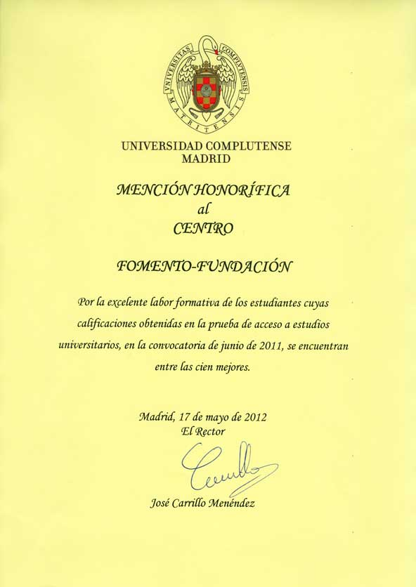 Mención Honorífica de la UCM al Centro de Bachillerato Fomento Fundación 2011