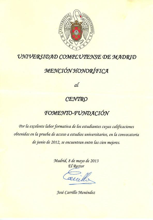 Mención Honorífica de la UCM al Centro de Bachillerato Fomento Fundación 2012
