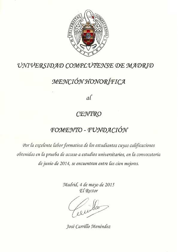 Mención Honorífica de la UCM al Centro de Bachillerato Fomento Fundación 2014