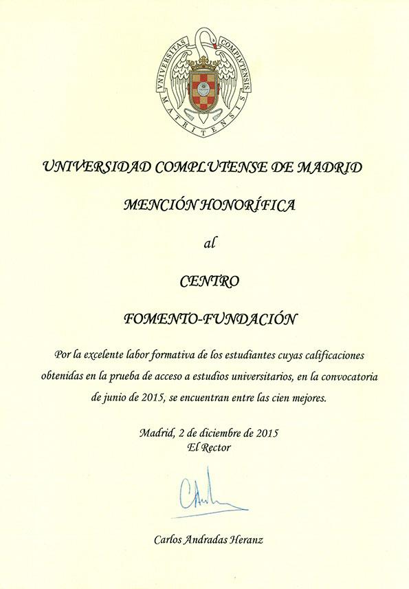Mención Honorífica de la UCM al Centro de Bachillerato Fomento Fundación 2015