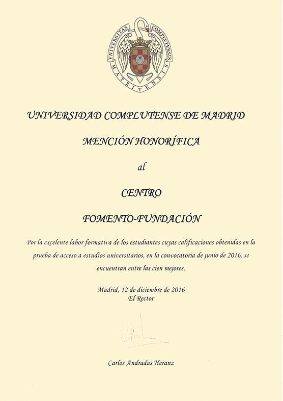 Mención Honorífica de la UCM al Centro de Bachillerato Fomento Fundación 2016
