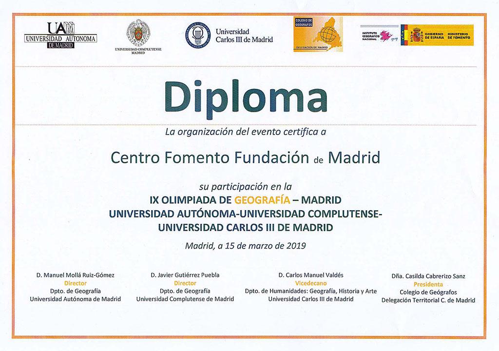 Diploma IX Olimpiada Geografía