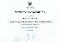 Mención Honorífica de la UCM al Centro de Bachillerato Fomento Fundación 2017